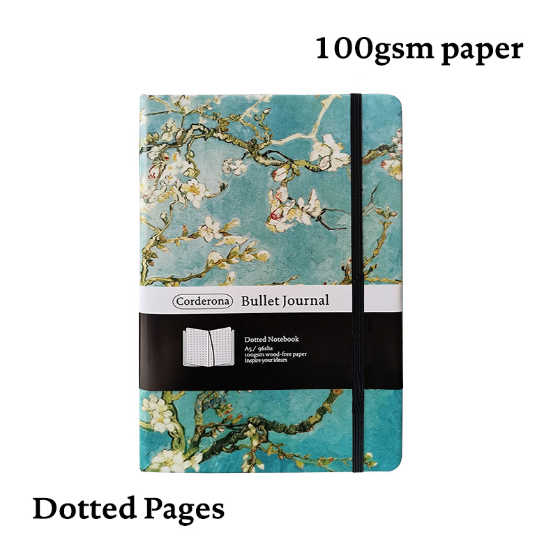 Dot Grid Bullet Journal Hard Cover A5 Van Gogh Starry Night Blossoming Almond Tree Notebook Dotted Bujo Travel Planner Diary