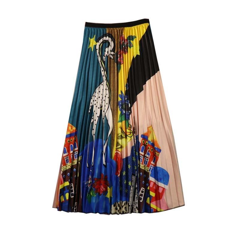 NiceMix Womens Long Skirt Summer Skirts 2019 Spring Luxury Cartoon Print Pleated High Waist Floral Printing New Saia