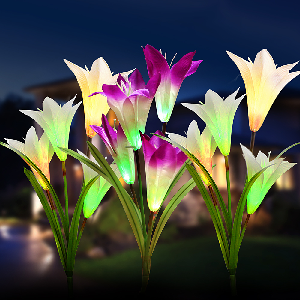 White/Purple Flower Multi-color Changing Solar Powered Wedding/Christmas Light LED Fairy Lights For Garden Decoration Waterproof