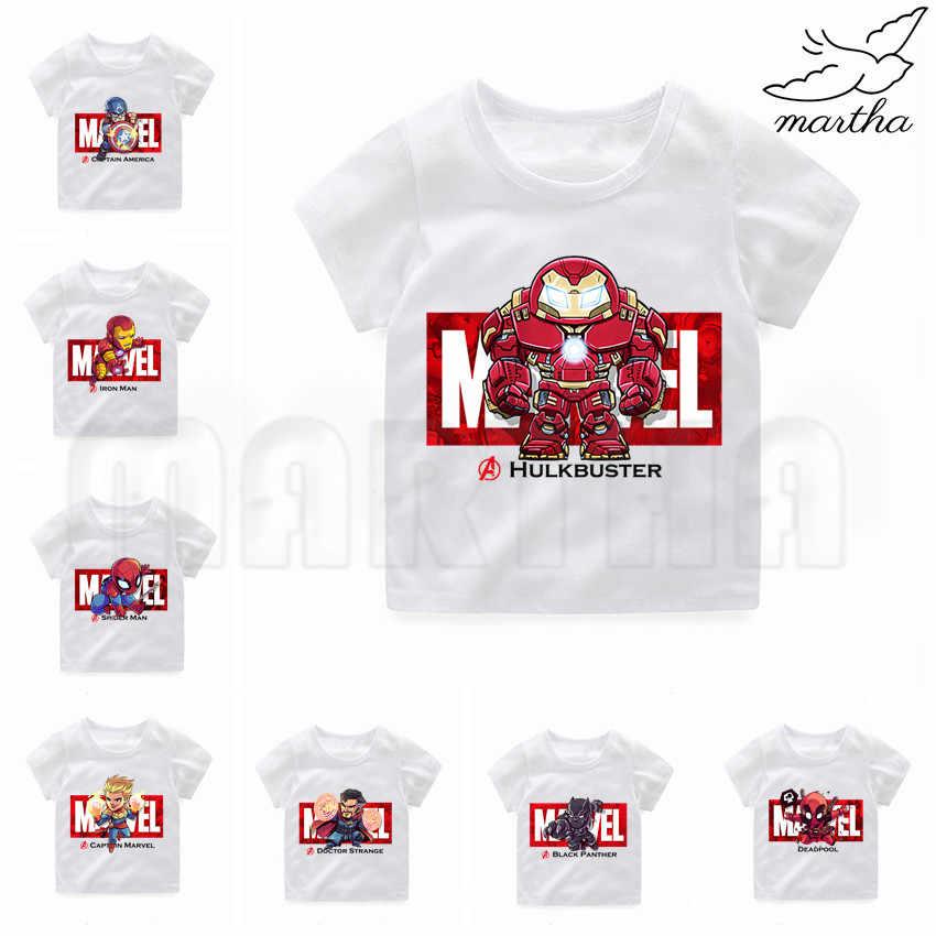 Niños Marvel Avengers Iron Man/capitán América/Spiderman/Hulk divertida camiseta blanca de dibujos animados para niños camiseta de niños ropa de bebé