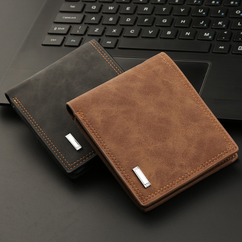New Men's Short Wallet With Zipper Retro Men's Wallet Dollar Bag Multi-card Pocket Soft Leather Wallets