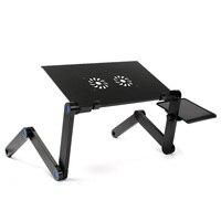 Портативный 360 складной стол для ноутбука компьютерный стол 2 отверстия охлаждающая подставка для ноутбука Настольный держатель с коврик д...