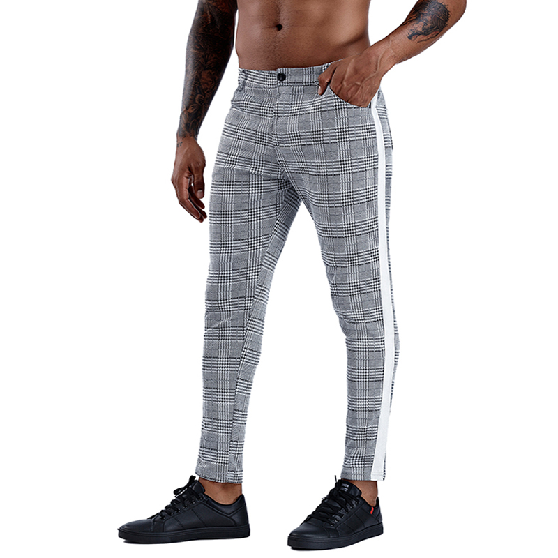 Casual Mens Chinos Cotton Slim Fit Men Pants Trousers Skinny Chinos Pants Grey Ankle Length Streetwear Plaid Side Stripe Pants