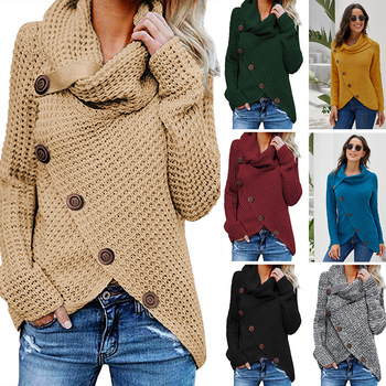 Women's Pullover Sweater Autumn Winter Warm Casual Fashion Chunky Button Turtle Cowl Neck Asymmetric Hem Wrap Tops barbour essential chunky half button red