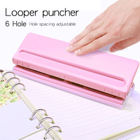 Metal 6 Hole Punch Craft Punch Paper Cutter Adjustable Stapler Home Office Binding Supplies Student Stationery Equipment