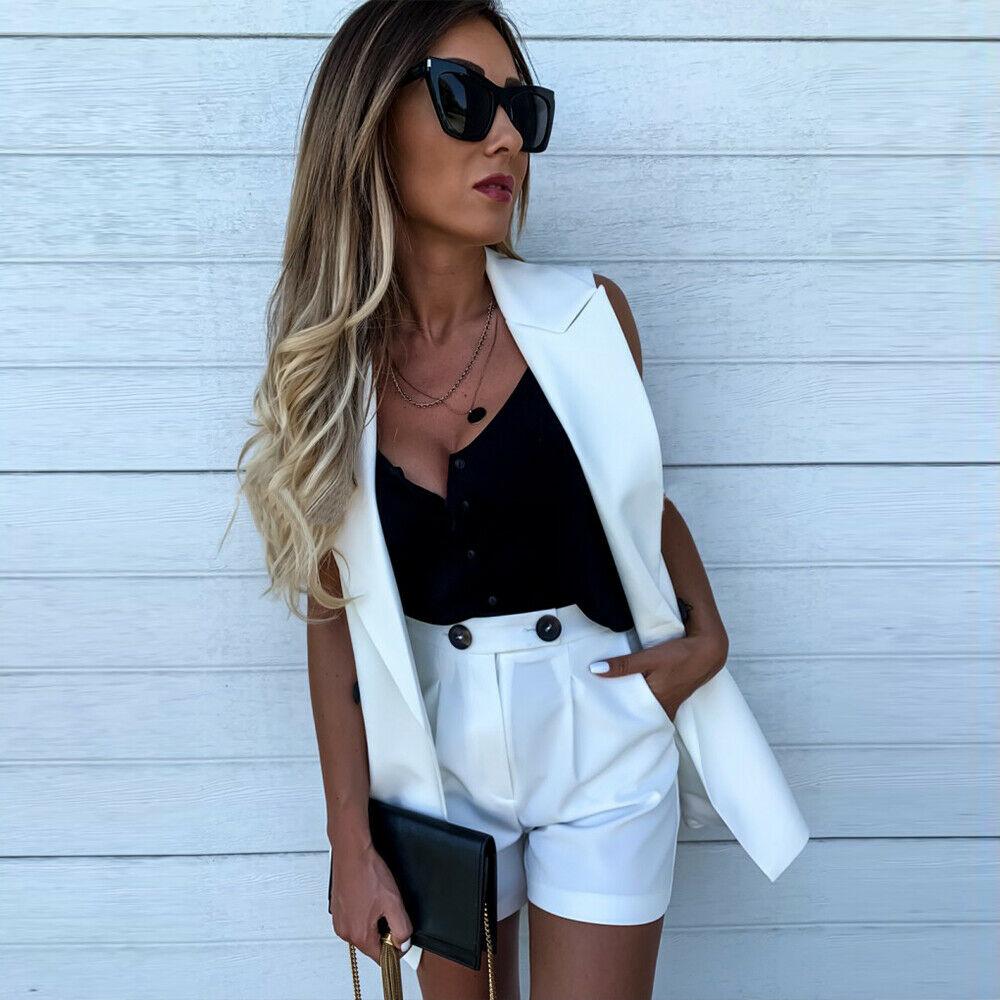 Blanc jaune bleu costumes belle mode deux pièces Shorts et sans manches manteau femmes ensembles poche bouton ensemble femme Blazer gilet manteau - 3
