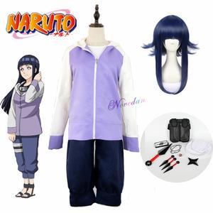 Хината Хюга Косплей Аниме Наруто шиппуден 2 поколения полный комплект косплей костюм Толстовка Куртка и парик