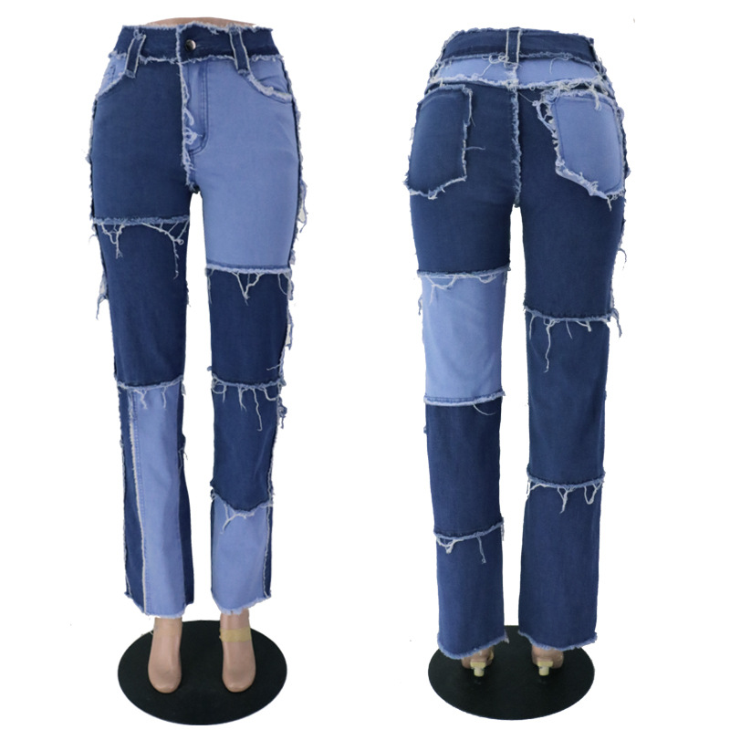 Women's Pants Color Block Stitching High Waist Jeans 2020 Stretch Patchwork Jeans 3