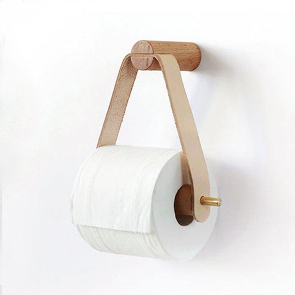 Wooden Toilet Paper Holder Bathroom Storage Wall Mount Roll Paper Holder Multipurpose Hand Towel Dispenser Toilet Tissue Rack