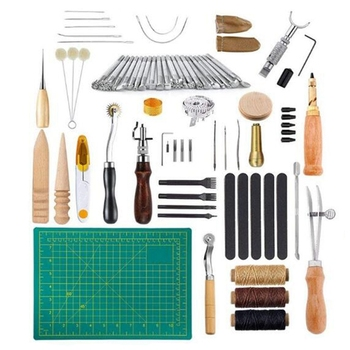 Leather Craft Sewing and Punching Tool Set Set Cutter Carving Work Splicing Tool Set