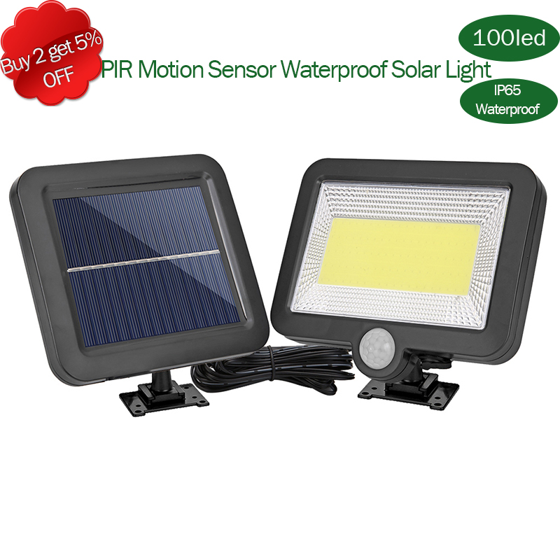COB 56/98/100/108/120LED Solar Lamp PIR Motion Sensor Waterproof Outdoor Path Night Lighting 5-8M Sensor With Remote Control