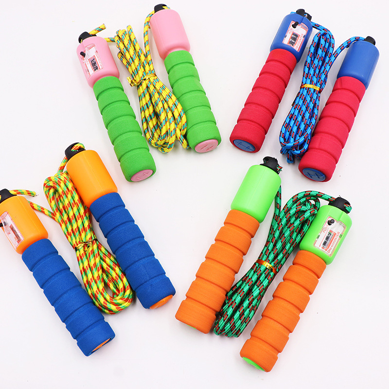 Foam Rubber Grip Count Jump Rope Maker With Numbers Jump Rope Students Thread Jump Rope Game Sponge Automatic Counting Jump Rope