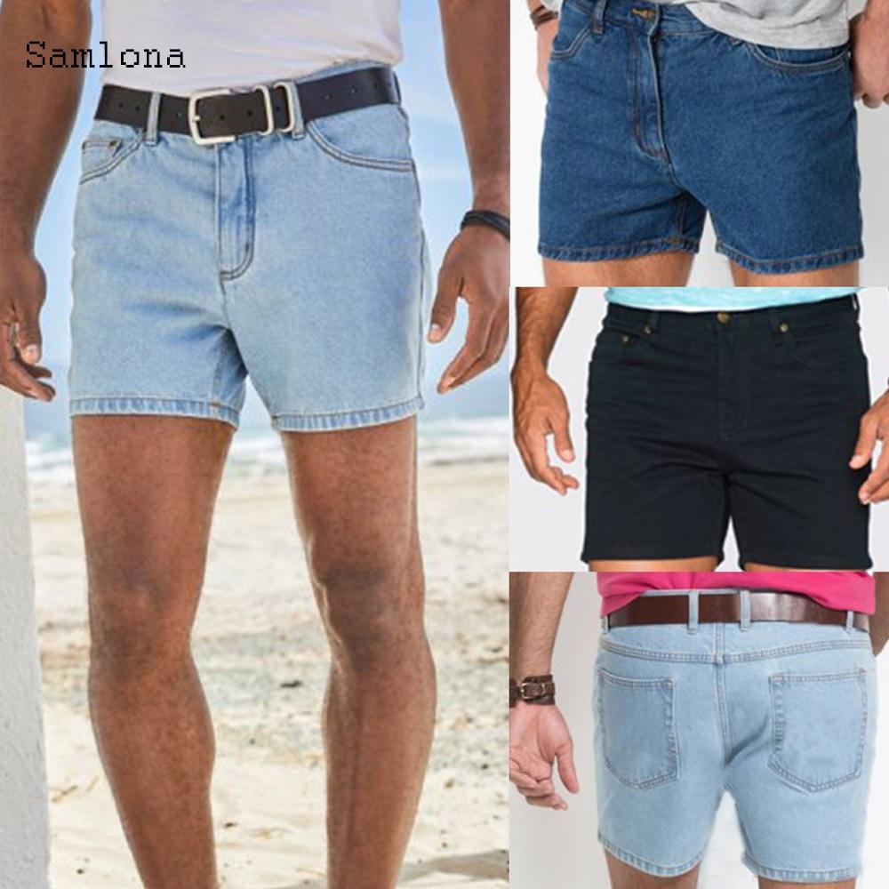 Samlona Summer New Western Fashion Shorts Jeans Men Straight Casual Trend All-match Classic Simple Denim Shorts Mens No Belt