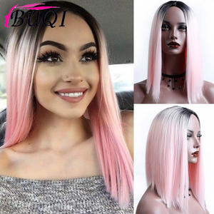 Length-Wigs Short Heat-Resistant Pink Dark-Roots Straight Ombre Women 14inch Buqi