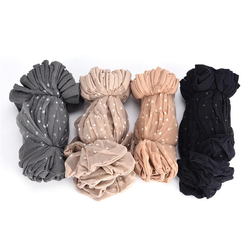 10 Pair Breathable Summer Sexy Black Skin Socks Pure Color Dots Women Girls Nylon Socks