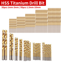 High Speed Drill Bit Set 99pcs/50pcs Titanium HSS Drill Bits Coated Stainless Steel HSS For Electrical Drill 1.5mm-10mm /1mm-3mm