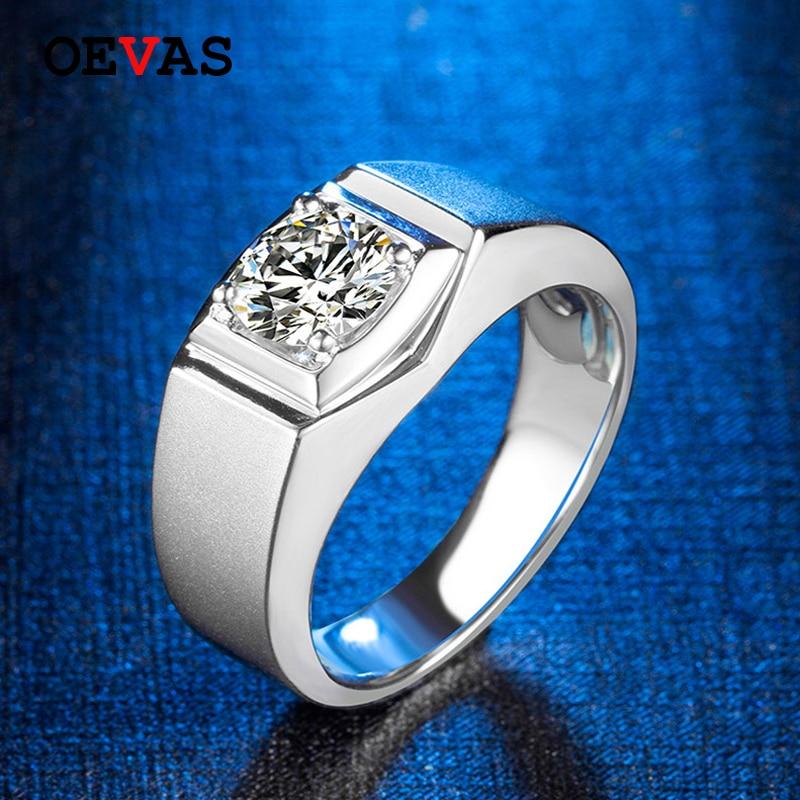 OEVAS réel 1 Carat D couleur Moissanite hommes bague 18K couleur or blanc étincelant mariage fiançailles fête Fine bijoux en gros