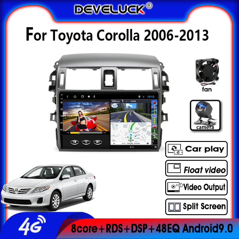 Android9.0 4G NET Car Radio Multimedia Player For <font><b>Toyota</b></font> <font><b>Corolla</b></font> <font><b>E140/150</b></font> 2006-2013 AutoStereo 2 DIN 4G+64G GPS Navigation RDS image