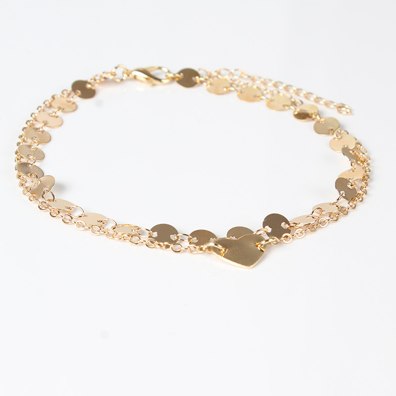 Trendy Fashion Heart Sequins Footchain Anklets Bohemian Beach Multilayer Ankle Bracelets for Women Jewelry in Anklets from Jewelry Accessories