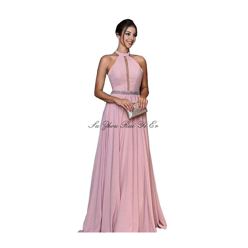 Halter Evening Dress 2020 Backless Formal Gown Draped Long Dress Chiffon A-line Evening Gown With Sequins Vestidos Elegantes
