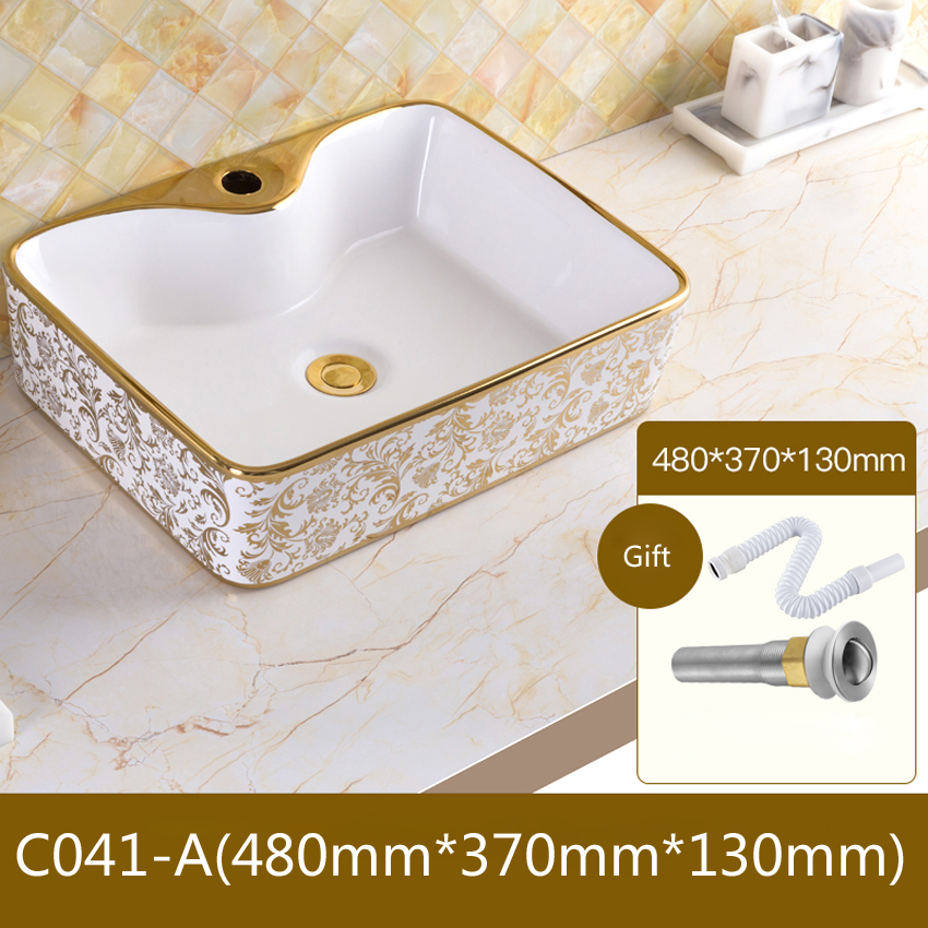 Us 43 8 11 Off Ceramic Basin Bathroom Sink European Style Luxury Washbasin Bath Combine Free Drain High Quality In Sinks From Home