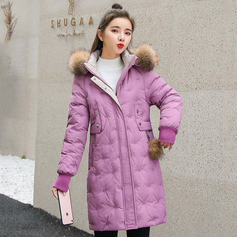 Women&39;s Jacket Large Size 2019 Female Long Hooded Fur Collar Parka_B7_18