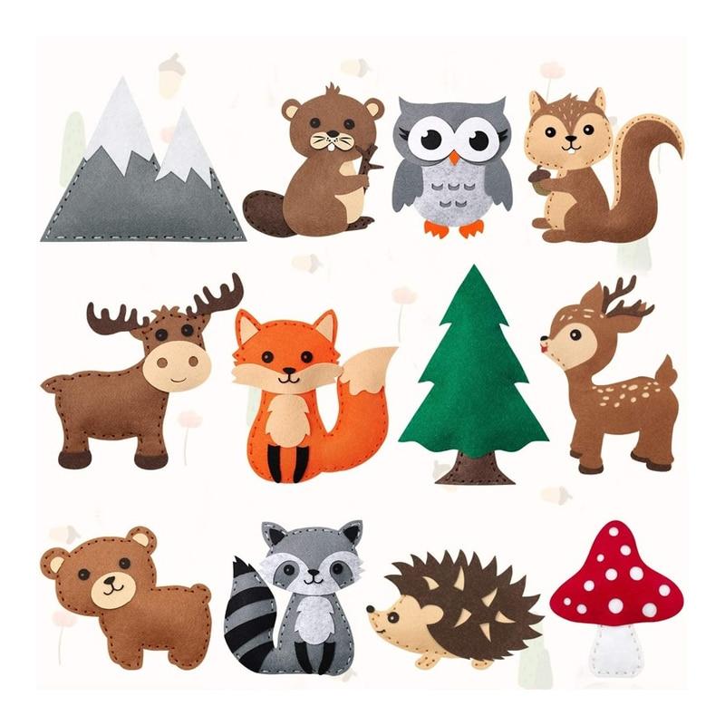 Набор для творчества с лесными животными и лесными существами, детский войлочный плюшевый набор «сделай сам» для шитья, развивающая швейна...