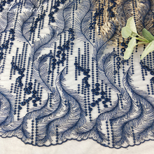 New 1yard Polyester Embroidered Seaweed Flower Mesh Lace Fabric diy Wedding Dress skirt materials