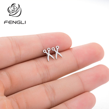FENGLI Punk Scissors Earring For Women Black Temperament Classic Men Studs Earrings Gold Color Stainless Steel Bronics