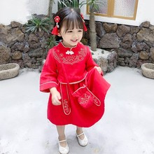 New Traditional retro style autumn long-sleeved dress with flower embroidered for girls