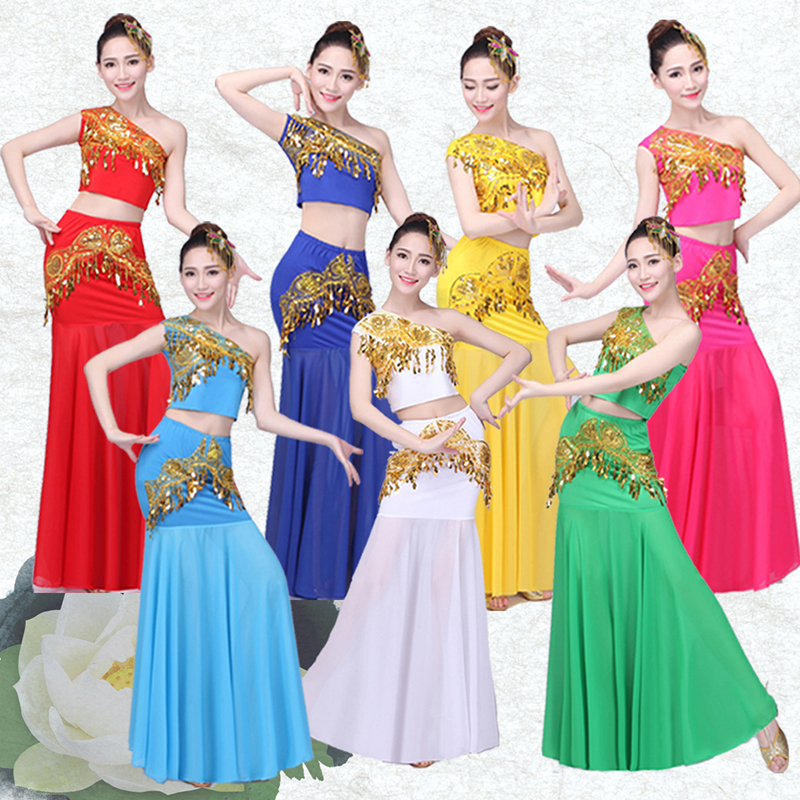 New Belly Dance Costume Indian Traditional Dress Peacock Women Adult Indian Bollywood Dress Fish Tail Leotard Girl Dancewear