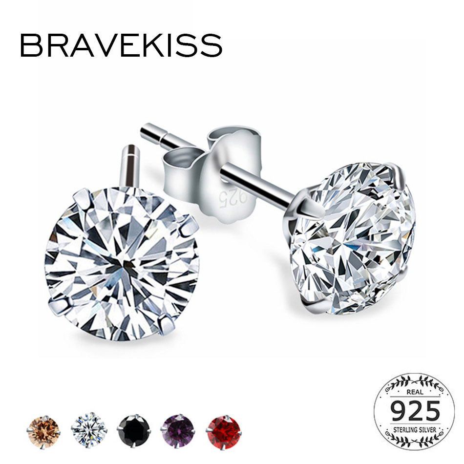 BRAVEKISS Fashion Crystal Zirconia 925 Sterling Silver Stud Earrings for Women Jewelry Cubic Zircon Stone Accessories BLE0285(China)
