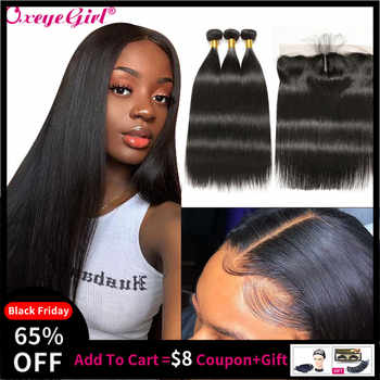 Straight Hair Bundles With Frontal Peruvian Hair Lace Frontal With Bundles 3 Human Hair Bundles With Closure Oxeye girl Non Remy - DISCOUNT ITEM  57% OFF All Category