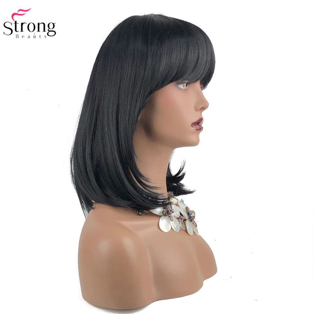 StrongBeauty Women's Synthetic Wigs Hair Black/Brown Medium Straight Hair Neat Bang Style Natura Wig Capless