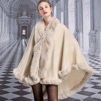 Z889 Luxury Large Hairy Collar Cloak Autumn and Winter Imitation Rex Rabbit Hair Shawl Womens Ponchos