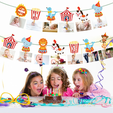 Hanging-Banner Circus Party-Decorations Photo-Display Happy-Birthday-Party-Supplies Baby Shower