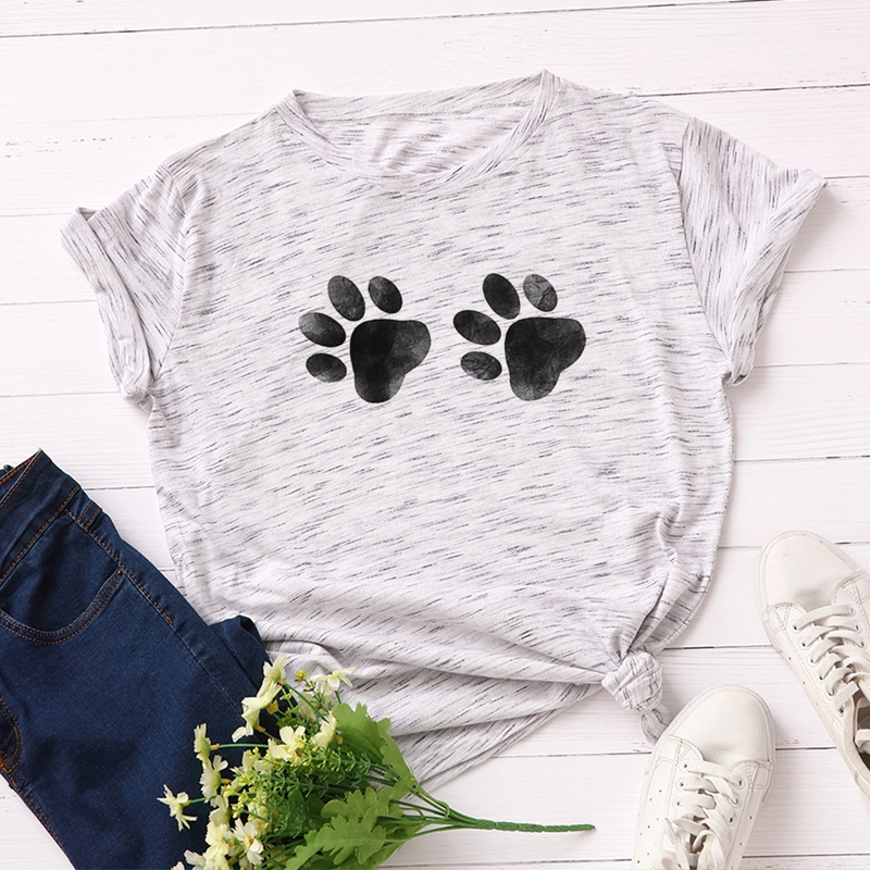 Women 100% Cotton Plus Size T-shirt Graphic Tee Summer Tops Short Sleeve Top Tees Funny Cute Dog Paw Print T Shirts Female Shirt