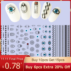 Image 1 - 1Pcs Fashion Patroon Ogen Nail Slider Art Stickers 3D Gemengde Kleur Ontwerp Nail Art Voor 3D Diy Decoraties Decal tips BEF166 573