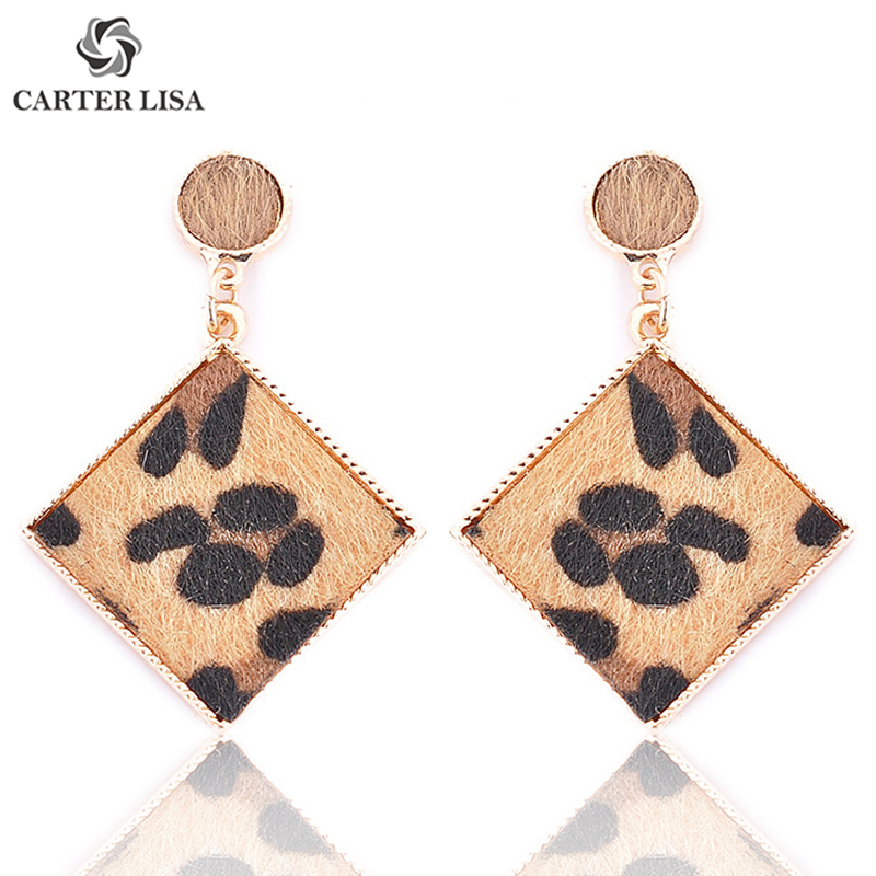 CARTER LISA Wild Leopard Square Drop Dangling Earings For Women Fashion Bohemian Jewelry Finding Party Personality Gifts