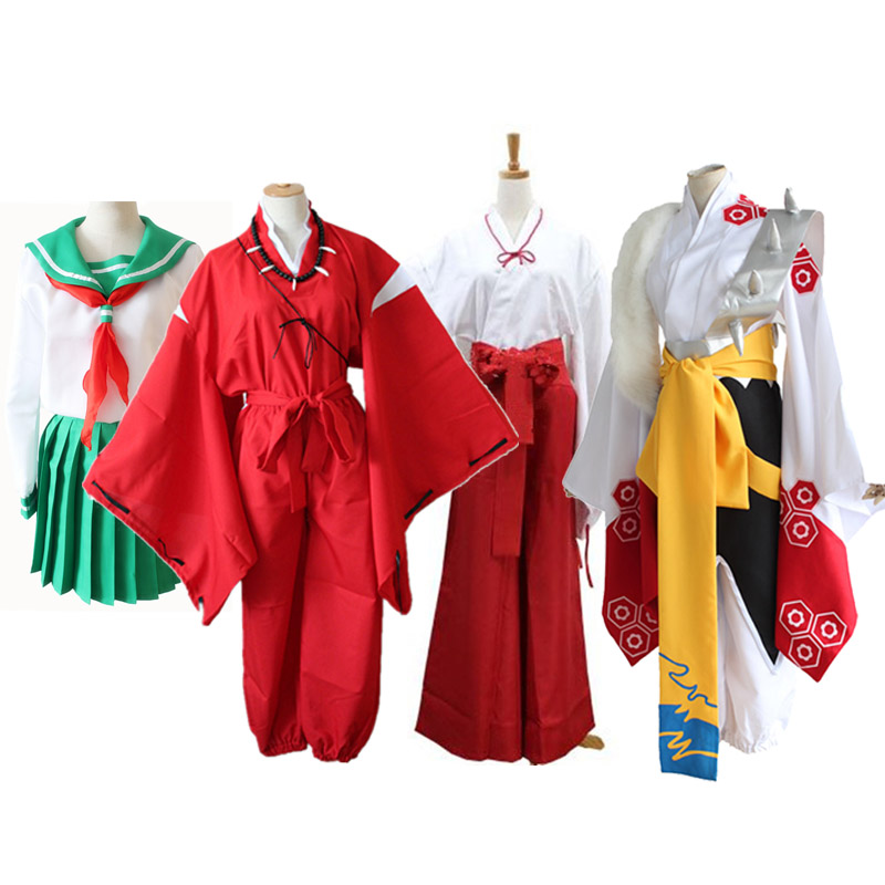 Anime Inuyasha Cosplay Costumes Red Japanese Kimono Higurashi Kagome Kikyō Sesshoumaru For Halloween Party