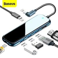 Baseus USB tipo C HUB a HDMI-compatibile RJ45 Multi USB 3.0 adattatore di alimentazione per MacBook Pro Air Dock 3 porte USB-C USB HUB Splitter