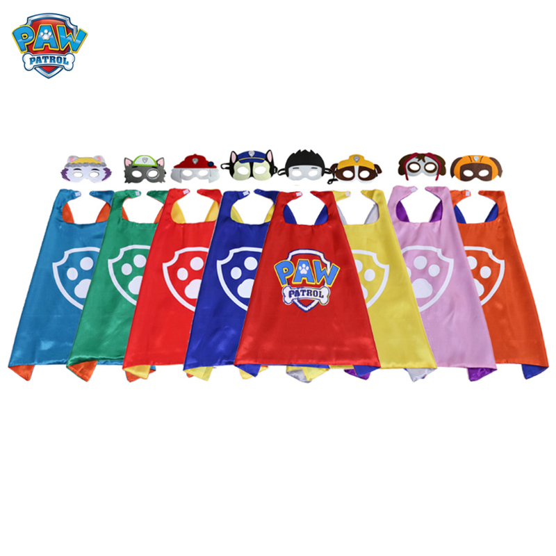 Paw Patrol Toys Set Rubble Chase Marshall Ryder Tracker Everest Skye Mask Cape Cloak Cosplay Cartoon Paw Patrol Birthday Gifts