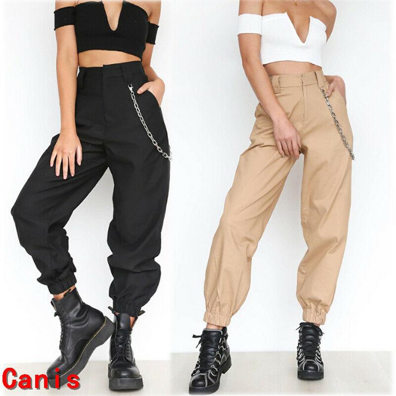 Spring Simple black Khaki chain cargo pants women high waist trousers Solid color trousers pants women streetwear plus size Pant