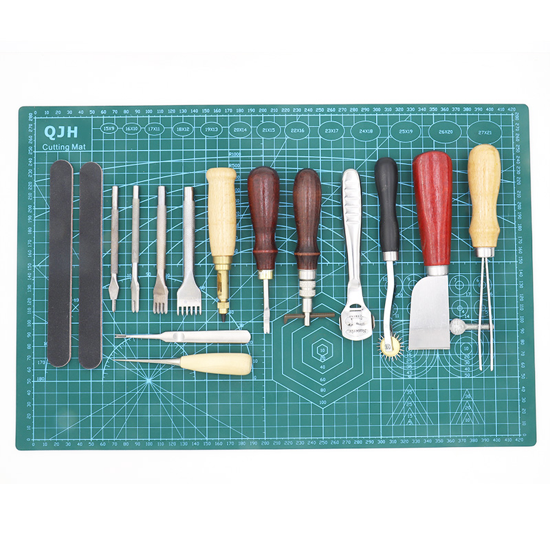 QJH 16pcs Sewing Craft  & Leather Tools Set DIY Handmade Punch Edger Trench Device Belt Puncher A3 Pvc Cutting Mat Patchwork