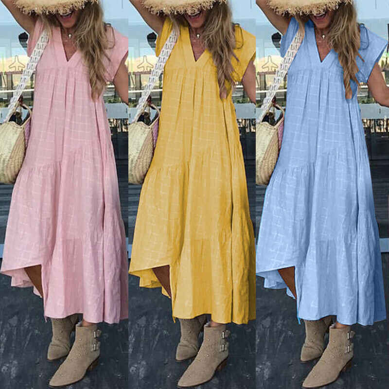 Women's Summer Dress Boho Casual Long Maxi Evening Party Clubwear Beach Dress Sundress 2019 Autumn Loose Girls Dress Plus Size