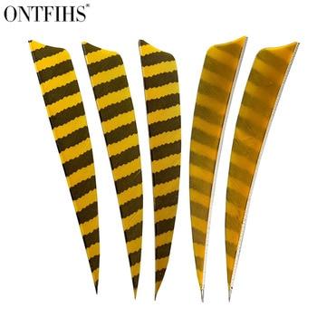 36 Pcs/Lot ONTFIHS 5 Inch Feathers Shield Cut Hunting  Arrow Vane Stripe Archery Fetches Arrow Turkey  Feathers Fetching 4