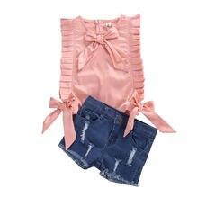 Модные комплекты одежды для маленьких девочек; Розовый плиссированный
