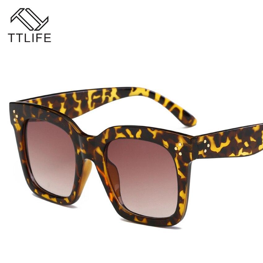 TTLIFE Retro Sunglasses Womens Colorful Gradient Color Driving Square Style Sun Glasses Design Frame