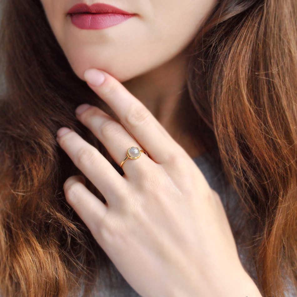 ALLNOEL Nhẫn Bạc 925 Nữ 100% Labradorite tự nhiên Gemstone Vàng Thật Mịn Trang Sức Cưới Đính đá 2019