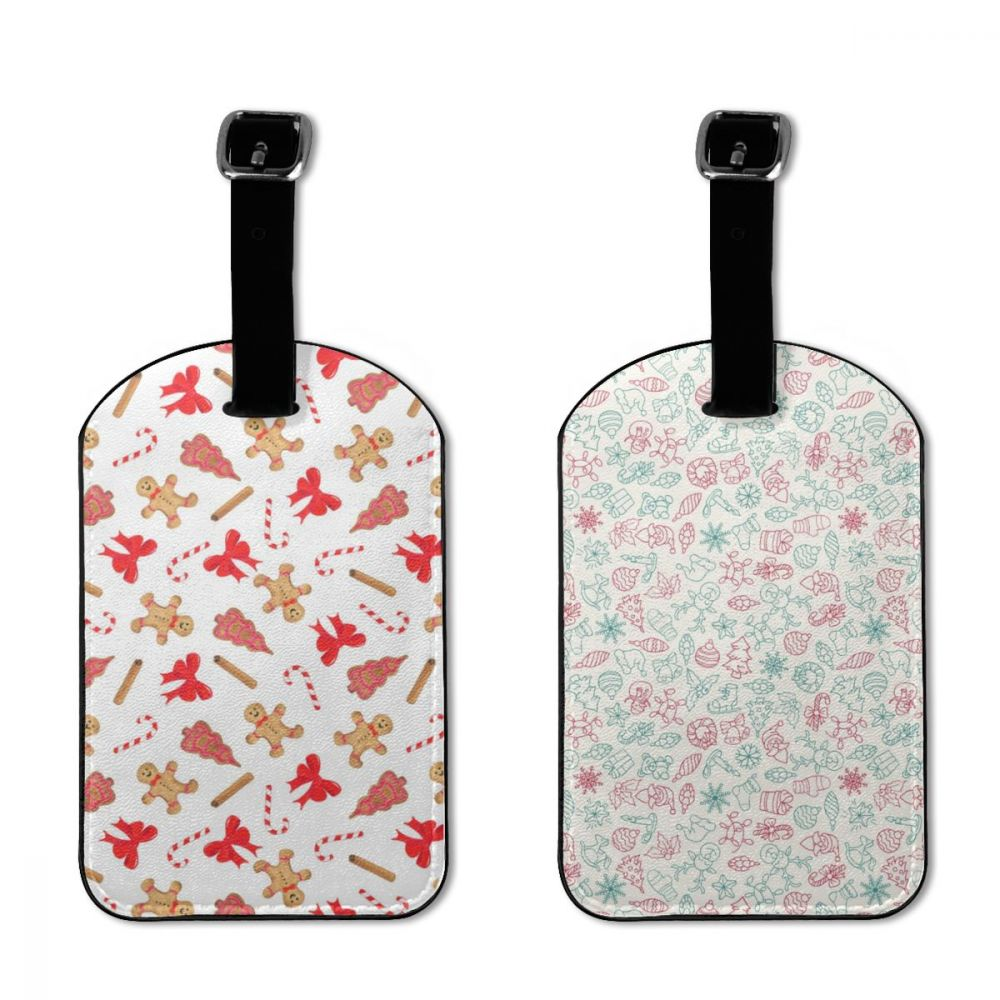 NOISYDESIGNS Travel Accessories Baggage Boarding Tags Luggage Tag 2 Pcs Santa Claus Print ID Addres Holder Portable Label